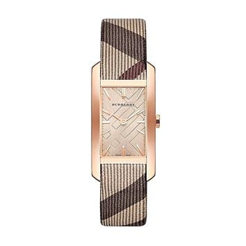 Burberry The Pioneer Rose Gold Dial Rectangular Swiss Quartz Women's Watch