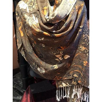 Vitage Styled brown Colored Butterfly Pashimina Shawl
