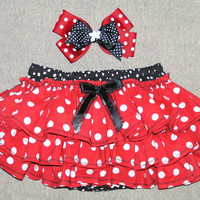 Minnie Mouse diaper cover - matching hair bow - ruffle diaper cover - red and black polka dot - ruffle bloomers - photo prop - size 2T