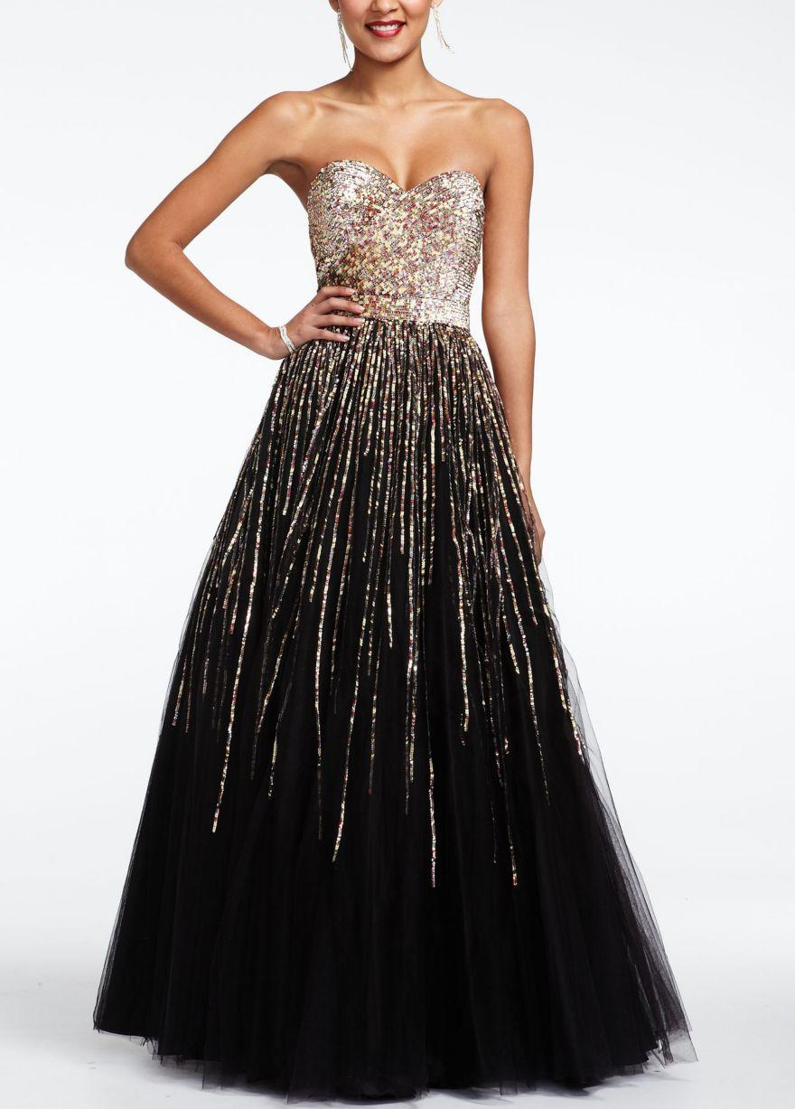 Strapless sequin embroidered prom dress from david 39 s bridal for David s bridal strapless wedding dress