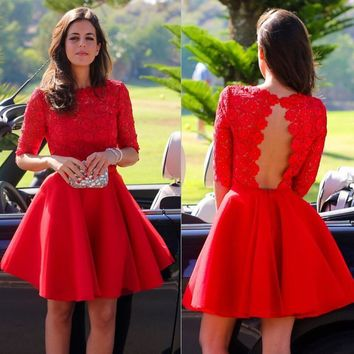 Red Lace 3/4 Sleeve Backless Stain Short Homecoming Dresses