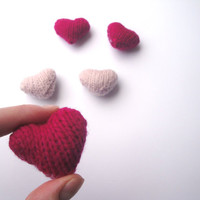 Mini Sweet Hearts, Plush Amigurumi Hearts, Handful of Hearts, Set of 5 Knit Hearts, Cute Kawaii
