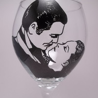 "Scarlett and Rhett Wine Glass ""The Kiss""-painted wine glass-painted wine glasses-Gone With the Wind-classic movies"
