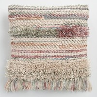 Blush Desert Fringe Indoor Outdoor Throw Pillow