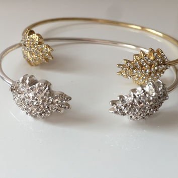 Crystal Leaf Open Cuff Bracelet - Gold or Silver