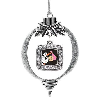 Stork Brings A Girl Square Charm Holiday Ornament