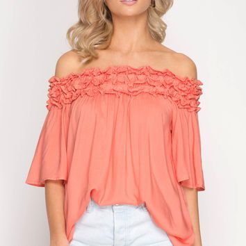 Off Shoulder Tunic Top with Ruffle Ruching Detail - Peach Coral