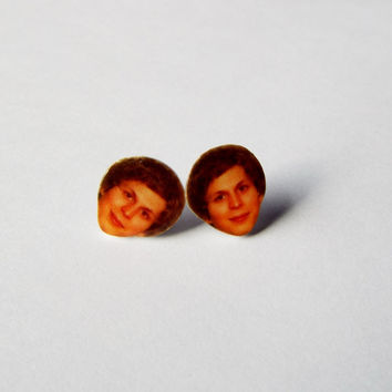 Michael Cera Earrings Celebrity Studs Funny Novelty Gift w/Gift Box