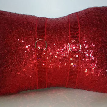Red Sequins All Over Luxury Lumbar Pillow Cover