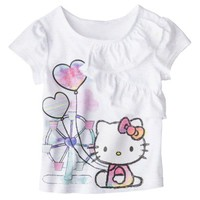 Hello Kitty Infant Toddler Girls' Ruffle Tee - White