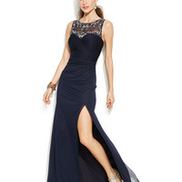 Joanna Chen Embellished Illusion Side-Slit Gown
