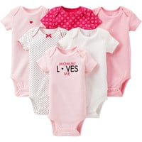 Walmart: Child of Mine by Carter's Newborn Baby Girl Assorted Bodysuits, 6-Pack