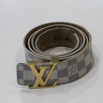 """Very Good Condition"" Louis Vuitton Monogram Damier Azur Belt White Gold Buckler"