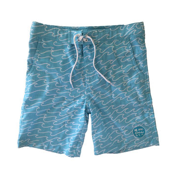 Walk-Surf-Swim Shorts in Blue Waves Print- Men's