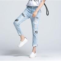 2016 Summer Letter Print Ripped Women Jeans Boy Friend Casual Hole Jeans For Women European Style Ladies Ankle Length Pants