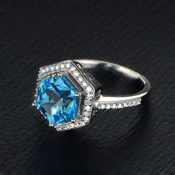 London Blue Topaz Engagement Ring 9mm, 3.9ct HexagonCut in a 14K White Gold Diamond Halo Setting