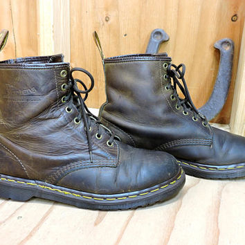 Dr Martens mens combat work boots US 11.5 / The Originals Doc Martens made in England / brown leather lace up ankle boots
