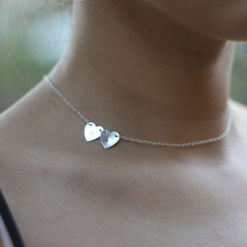 Silver Heart Initial Necklace -Double heart Sideways Initial Necklace . 14K gold filled or Sterling silver