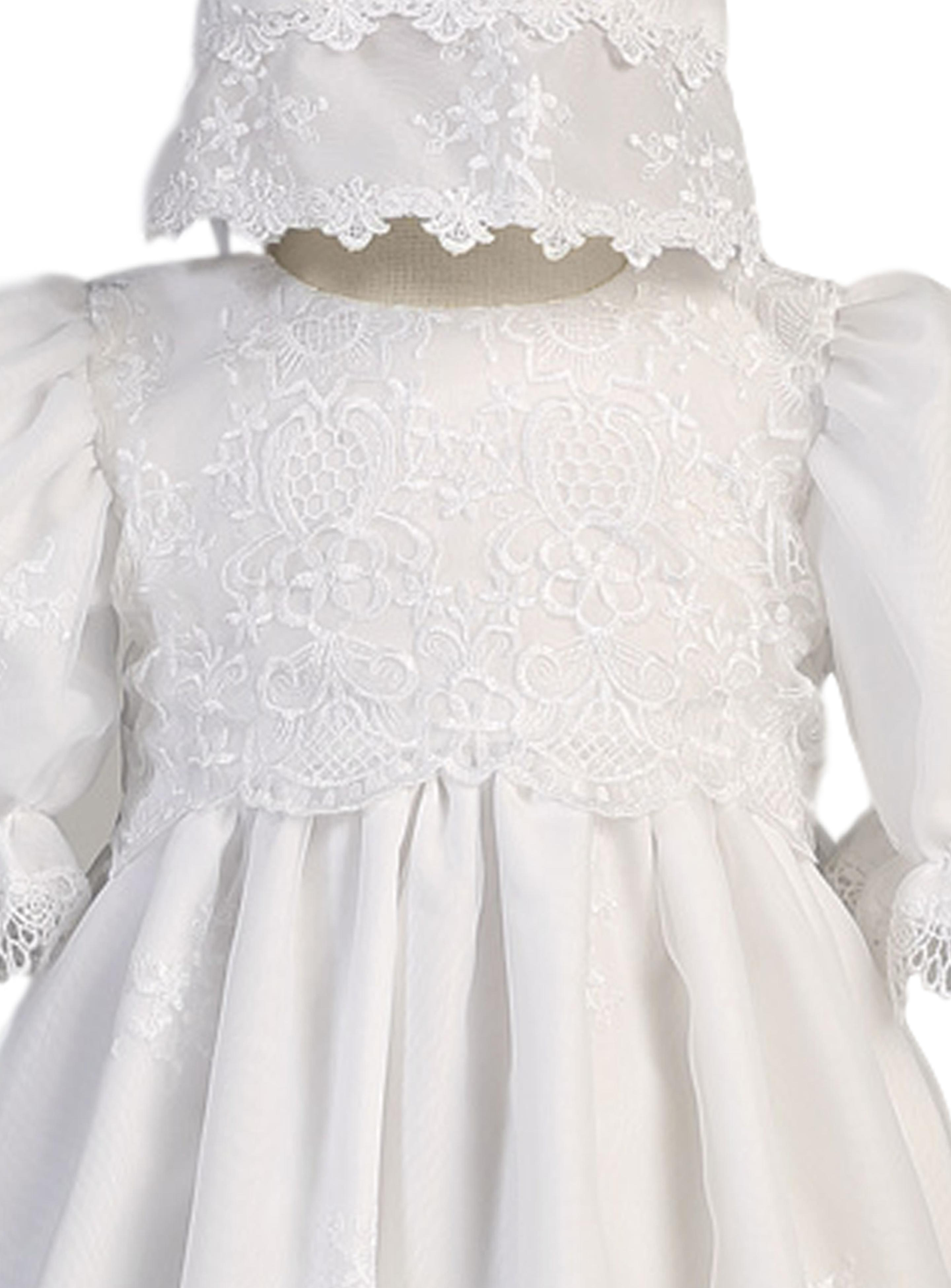 3b65dc7d66d59 Embroidered Organza Girls Christening Gown w. Venice Lace 0-18m
