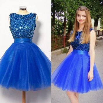 Elegant Short Blue Homecoming Dresses