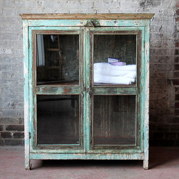 Vintage Sideboard Bar Cabinet Acid Washed Turquoise Green Cream Reclaimed Indian Cabinet Industrial Farm Chic Media Stand Curio