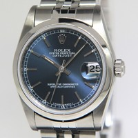 Rolex Datejust Stainless Steel Blue Dial Midsize Ladies Watch 68240