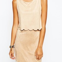 New Look Suedette Scallop Detail Dress at asos.com