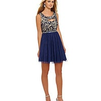 Sequin Hearts Sequined Lace-Bodice Dress - Navy/Nude