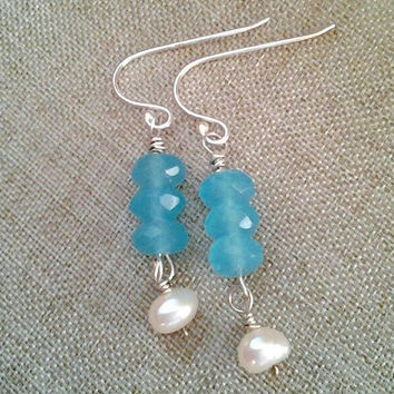 Sterling silver & sky blue chalcedony earrings, Pearl drop earrings, Sterling silver blue gemstone earrings, sky blue stone and pearl drop