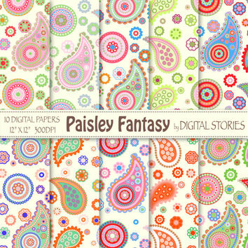 "Paisley Digital Paper: ""PAISLEY FANTASY 1"" Scrapbook paper with colorful paisley for invites, cards, background - Buy 2 Get 1 Free"