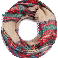 Infinity Plaid Tartan Scarf in Beige