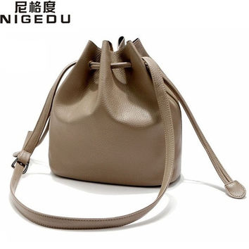 Simple classic euramerican style bucket Crossbody Bags High quality PU leather women shoulder bag women handbag free shipping