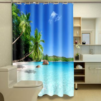 New 3D Shower Curtains Beach coconut tree scenery Pattern Waterproof Fabric Bathroom Curtains Washable Bathroom Products Hooks
