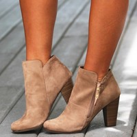 There She Goes Again Bootie in Beige | Monday Dress Boutique