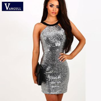 Brand Womens Sequins Halter Backless Short Dress New Silver Paillette Bodycon Slim Sexy Clubwear Party Mini Dresses