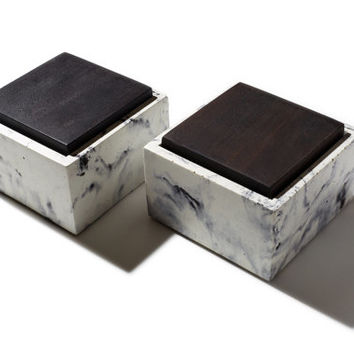 Small White and Black Marbled Set of Two Concrete Boxes with solid wood lids, Minimalist Home Decor, Jewelry Box, His and Hers Containers