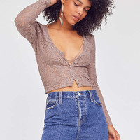 Kimchi Blue Lace V-Neck Button-Down Cropped Top | Urban Outfitters