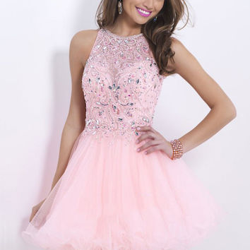 Pink Sheer Neck Keyhole Back Beaded Short from thepromtrend2015.c