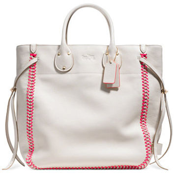 COACH TATUM TALL TOTE IN POP LACING WHIPLASH LEATHER