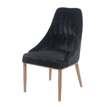 Jasmine Velvet Dining Chair Rose Gold Legs, Obsidian (Set of 2)