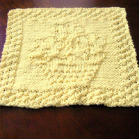 Cotton Hand Knit Yellow Flowerpot Dish Cloth or Wash Cloth