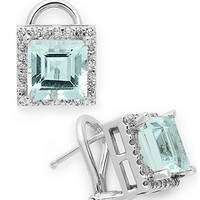 14k White Gold Earrings, Aquamarine (3-5/8 ct. t.w.) and Diamond (1/3 ct. t.w.) Earrings - Earrings - Jewelry & Watches - Macy's