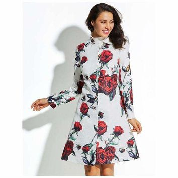 DCCKON3 flower ture red polyester duster coat