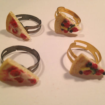 Miniature Gold Pizza Slice Rings Food Jewelry