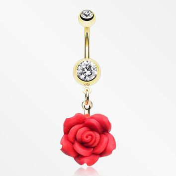 Golden Rose Blossom Belly Button Ring