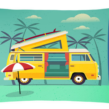 Greatest Adventure Camper Van Canvas Fabric Decorative Pillow BB5477PW1216