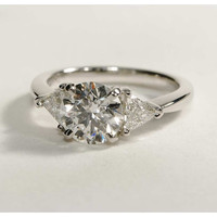 A Perfect 2CT Round Cut Russian Lab Diamond Engagement Ring with Trillion Accents