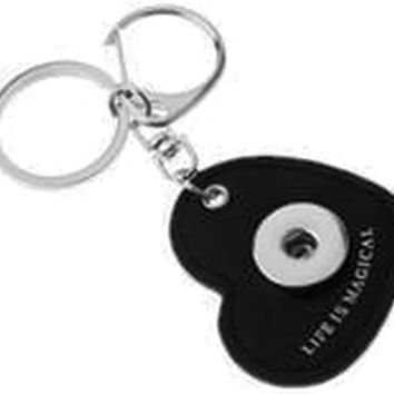 Black Leather Heart Shape Life Is Magical Key Chain With O Ring and Clip For 18MM - 20MM Snap Jewelry New Item