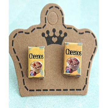 Cheerios Cereal Box Earrings