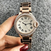 Cartier Fashion New Diamond Round Shell Women Men Watch Wristwatch